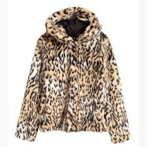 H&M faux fur leopard jacket.